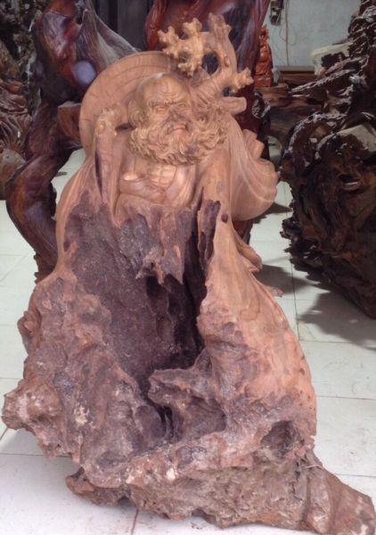 Tượng Đạt Ma giáo hóa gỗ nu xá xị