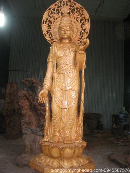 Tượng Phật bà gỗ pomu phong thủy đẹp